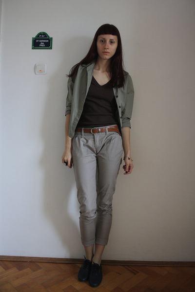 green Jcrew shirt - brown Zara top - gray Stradivarius pants - brown thrifted be