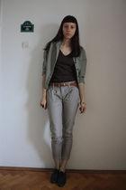 green Jcrew shirt - brown Zara top - gray Stradivarius pants - brown thrifted be