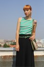 Green-thrifted-bag-aquamarine-zara-shirt-black-thrifted-skirt