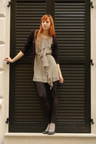 gray DGM shoes - green H&M dress - black Stradivarius leggings - black H&M cardi