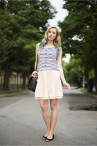 white stripes zaful top - black nowIStyle bag - black H&M flats