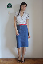 white H&M shirt - blue Esprit skirt - red thrifted belt - black random shoes