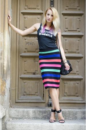 black custom made t-shirt - black Jus De Fraise skirt - black Zara sandals