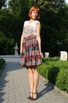 teal c&a skirt - white Zara t-shirt - dark brown thrifted sandals