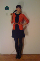 orange blazer - black united colors of benetton dress - brown belt - black Strad