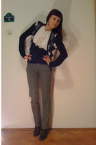 black No label cardigan - white Orsay top - gray No label pants - black No label