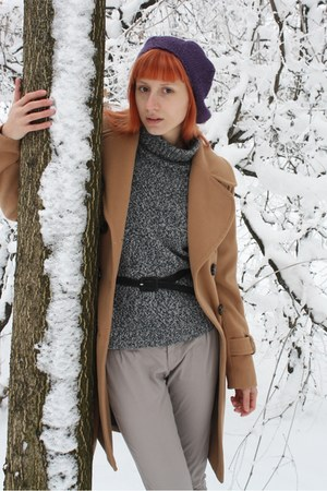 camel Topshop coat - heather gray thrifted sweater - heather gray Stradivarius p