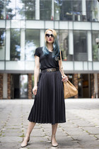 black thrifted skirt - nude Mango bag - neutral asos flats
