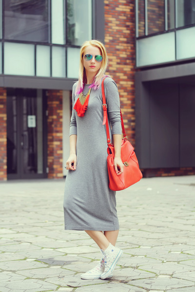 heather gray H&M dress - white high tops Converse shoes - red Zara bag