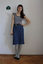 white thrifted t-shirt - blue Esprit skirt - gray random tights - black random s