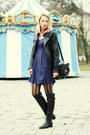 Black-filty-boots-navy-h-m-dress-black-leather-pull-bear-jacket