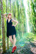 red lita Jeffrey Campbell boots - black hi low Stradivarius dress