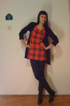 black Terranova cardigan - red dress - black Stradivarius leggings - black afrod