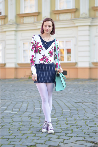 floral nowIStyle cardigan - polka dots nowIStyle dress - Calzedonia tights