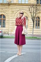 ruby red nowIStyle shirt - tan nowIStyle bag - magenta midi asos skirt