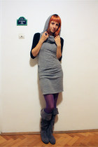 gray helene dress - black thrifted shirt - purple random tights - gray random bo