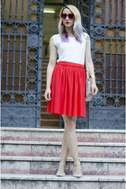 beige nowIStyle bag - red H&M skirt - beige sandals asos flats