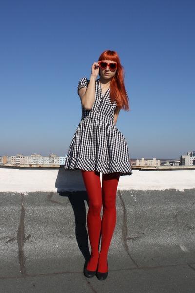 black H&M dress - red random tights - DGM shoes - red festival sunglasses