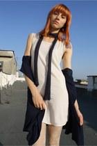 dark khaki H&M shoes - off white Bershka dress - off white H&M tights - navy oka