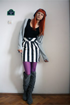 black Orsay dress - purple Fiore tights - charcoal gray random boots - heather g