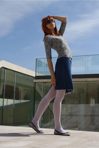 white thrifted shirt - white Calzedonia tights - blue thrifted skirt - black Era