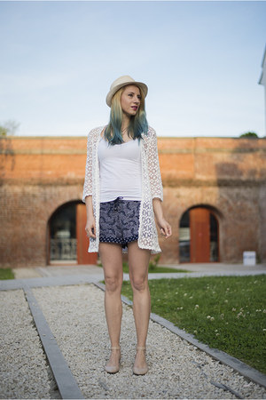 navy c&a shorts - white crochet c&a cardigan - nude asos flats