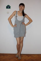 white random top - gray soul rebel dress - white random shoes - orange handmade