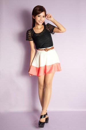 white Skinny Heels skirt - black Skinny Heels top