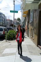 pink H&M scarf - black Forever 21 leggings - black H&M jacket - pink Forever 21