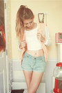 Light-pink-varsity-kohls-jacket-light-blue-forever-21-shorts