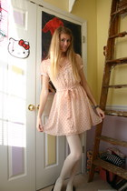 white Target tights - light pink heart print Charlotte Russe dress - black flats