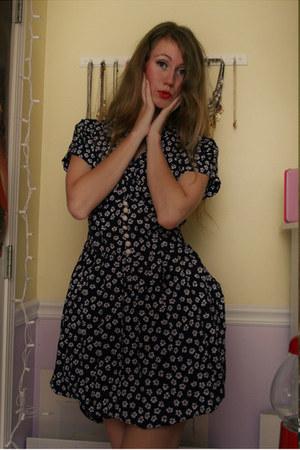 navy floral vintage dress