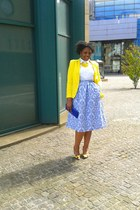 light yellow Primark shoes - light yellow Zara blazer - sky blue H&M Trend skirt
