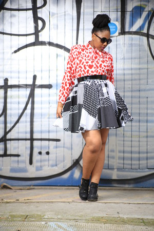 vintage blouse - Office shoes - l made it skirt