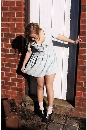 blue vintage dress - beige Sportsgirl stockings - black i cant remember shoes