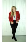 Red-vintage-blazer-white-ping-pong-t-shirt-blue-diva-necklace-black-bauhau