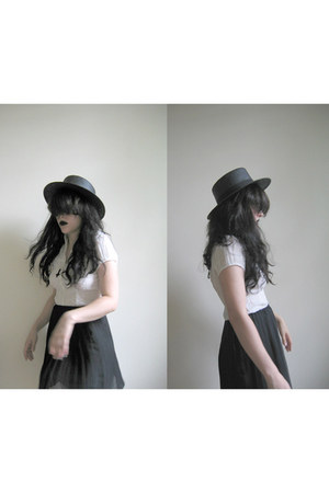 black paper H&M hat - white buttonup H&M blouse - Urban Outfitters skirt