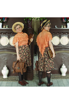 gold straw H&M hat - brown erin oxfords Frye shoes
