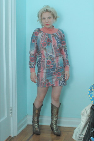 camel cowboy boots BCBG boots - light blue baroque floral dress