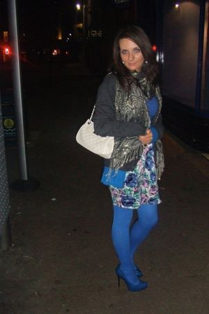 blue Motel dress - silver River Island scarf - white Topshop Quilted Bag accesso