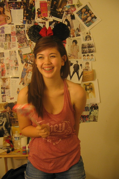 ruby red sequined Disney hat - ruby red red faded obey shirt - blue Dream Out Lo
