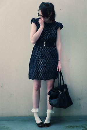 black Naf Naf dress - black vintage belt - white storets socks - black Tex shoes