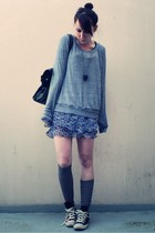 gray American Apparel sweater - blue  skirt - gray H&M socks - black Converse sh