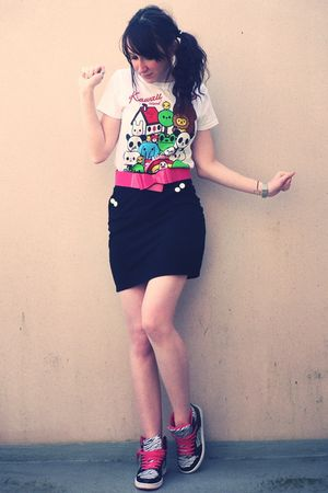 white gift shirt - black H&M skirt - pink New Yorker shoes - pink new look belt