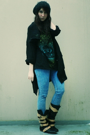 black new look coat - black H&M t-shirt - blue storets jeans - black vivienne we
