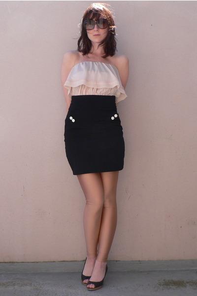 H&M blouse - H&M skirt - American Apparel leggings - miss coquine shoes