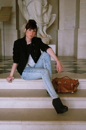 black somewhere jacket - blue Topshop jeans - black Boohoo shoes - brown Baby Sa