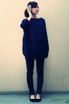 beige H&M earrings - blue storets sweater - gray Zara jeans - black Tex shoes