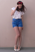 Self Made accessories - vintage blouse - vintage shorts - miss coquine shoes