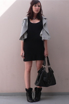 new look blazer - H&M dress - Lancaster purse - new look boots